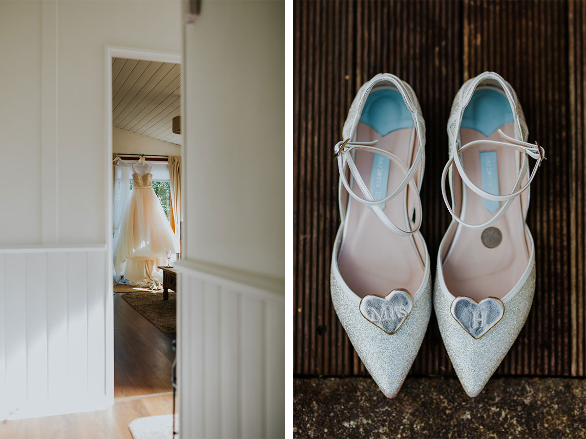 wedding-dress-and-shoes-with-personalised-heart-clips