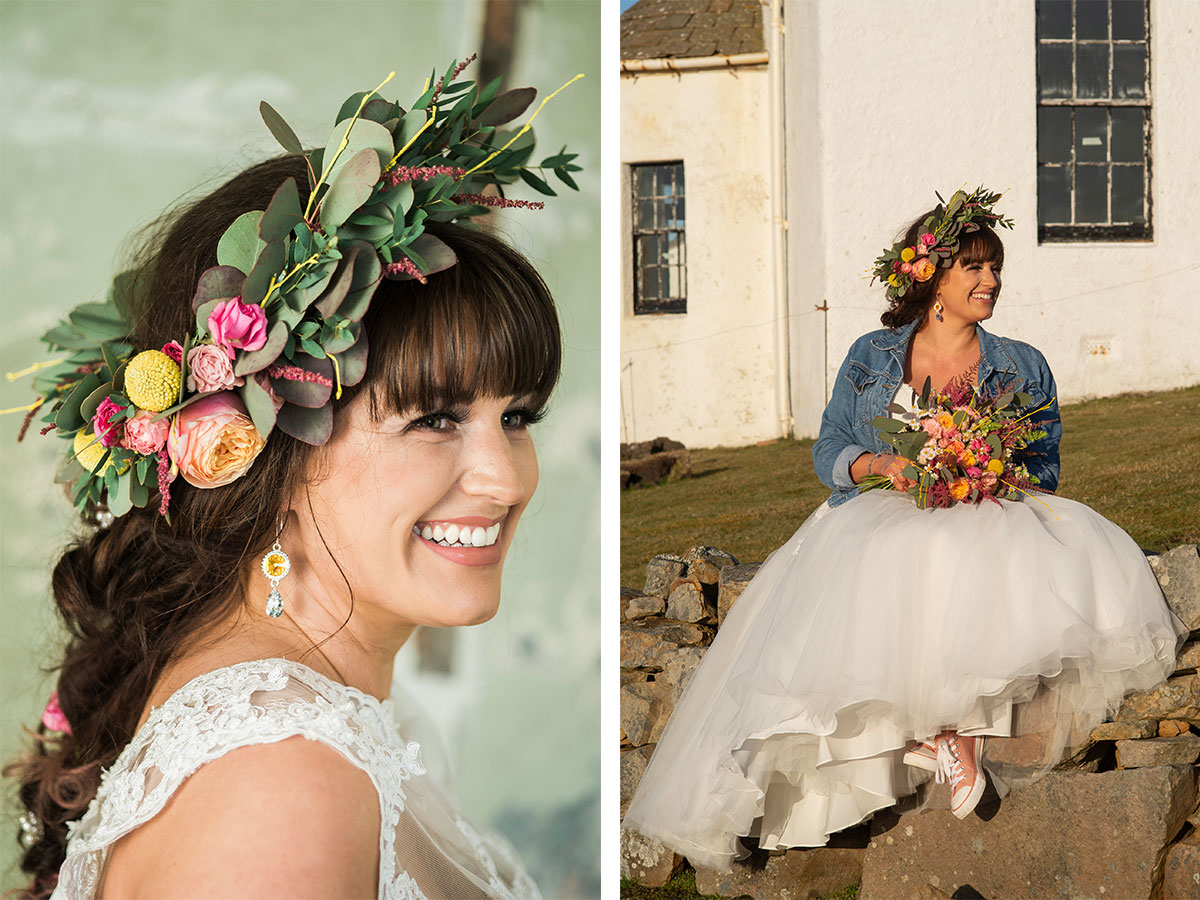 bride-with-floral-crown-and-denim-jacket