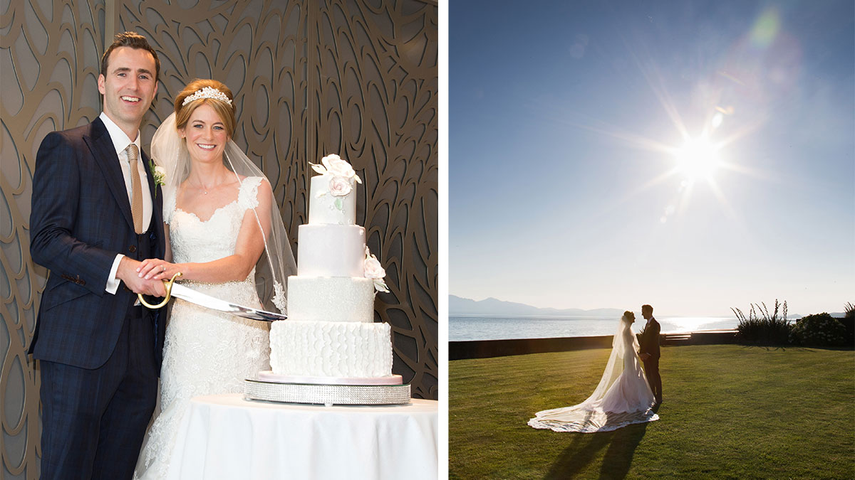 bride-and-groom-cutting-cake-and-sun-setting