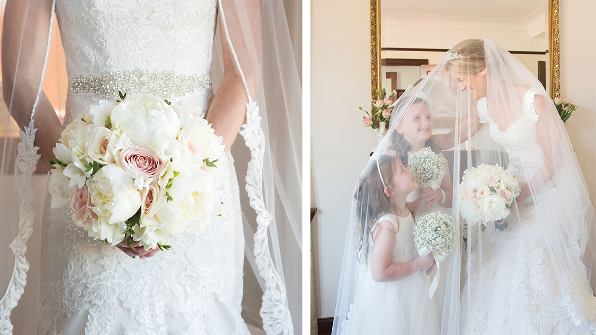 bridal-bouquet-with-peonies-and-roses-and-bride-under-veil-with-flower-girls