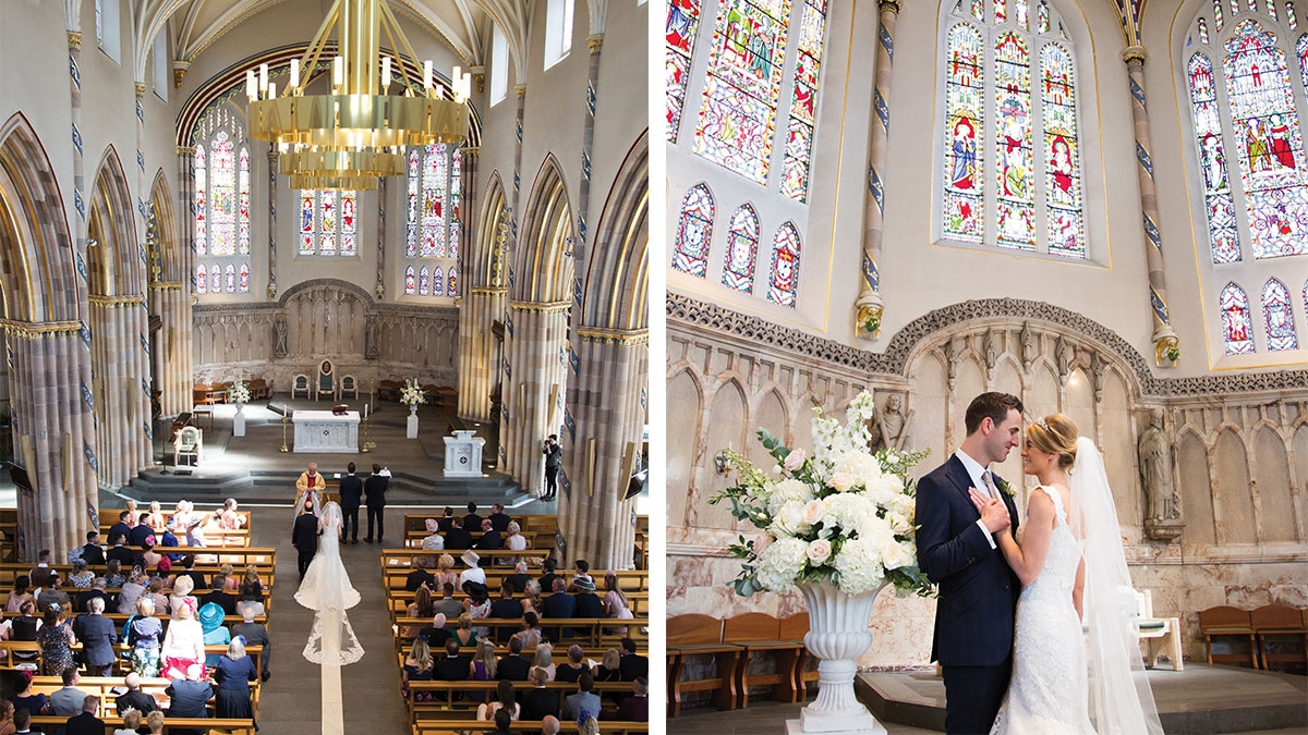 cathedral-during-ceremony-and-bride-and-groom-embracing