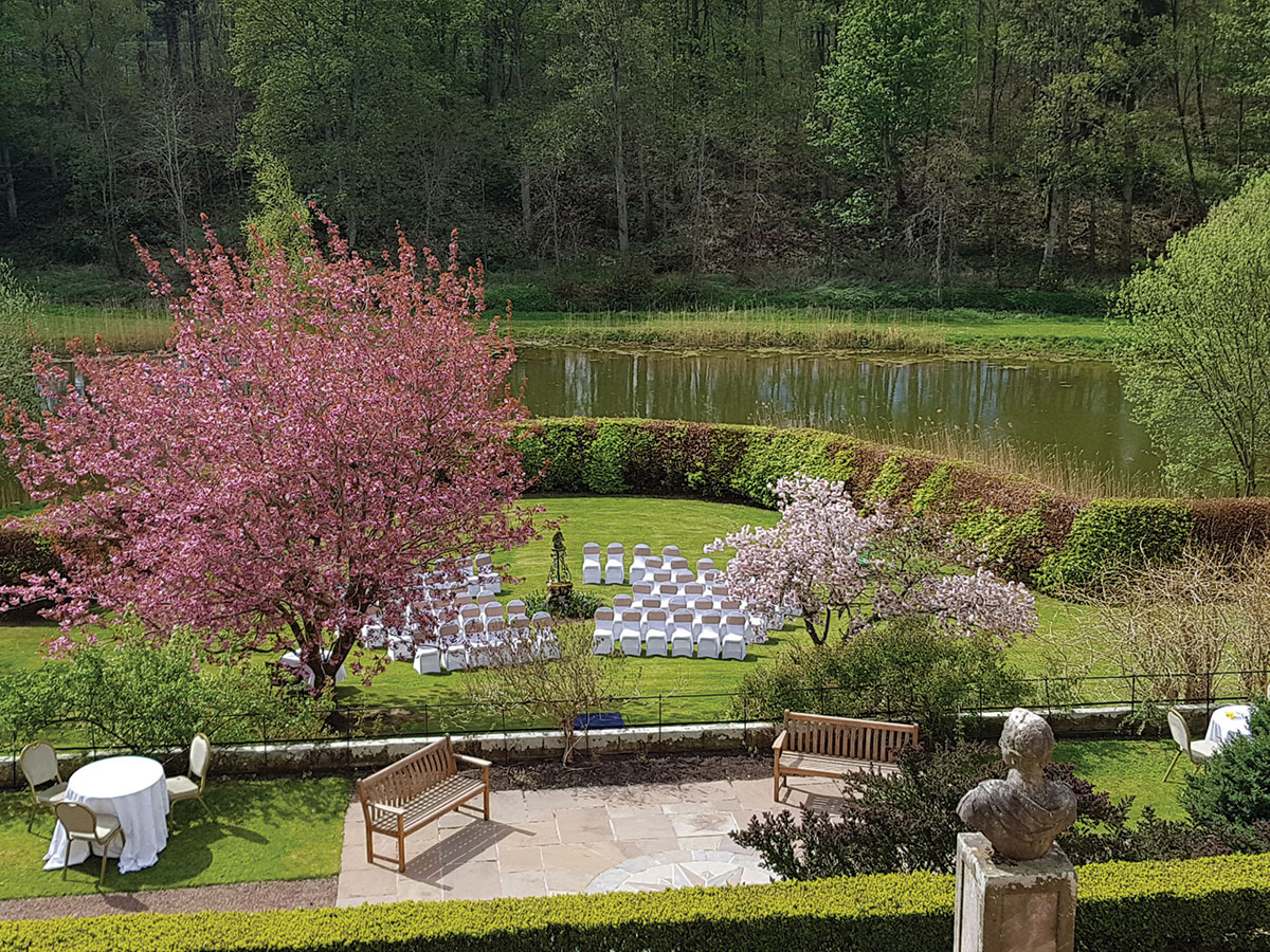 terraced-gardens-at-winton-castle-dressed-for-wedding-ceremony