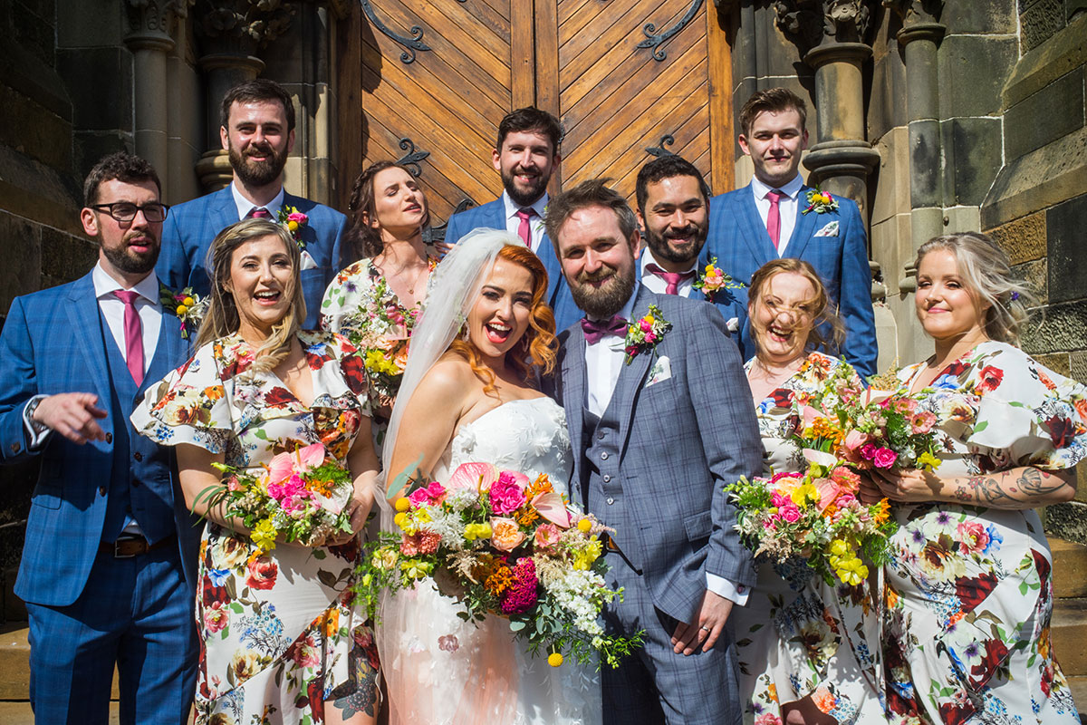 bridal-party-on-cottiers-steps-in-glasgow