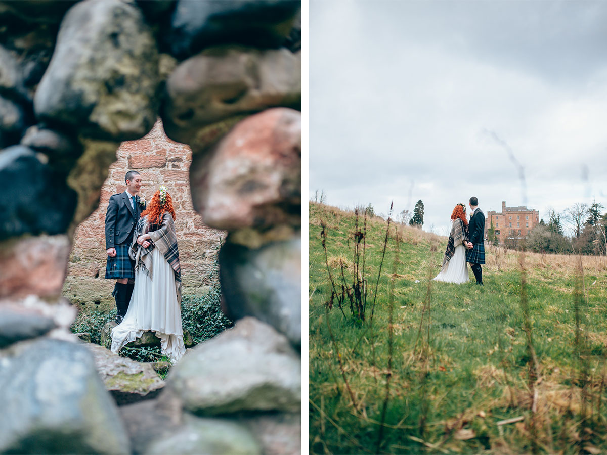 rustic-wedding-photos-with-bride-and-groom-at-scottish-castle