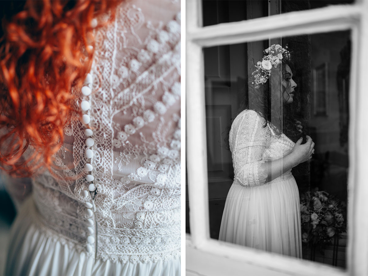 bride-wearing-floral-lace-wedding-dress-and-red-curly-hair-getting-ready