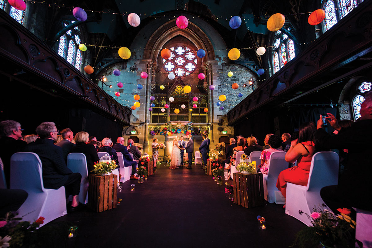 ceremony-photo-with-colourful-decor-in-cottiers-glasgow