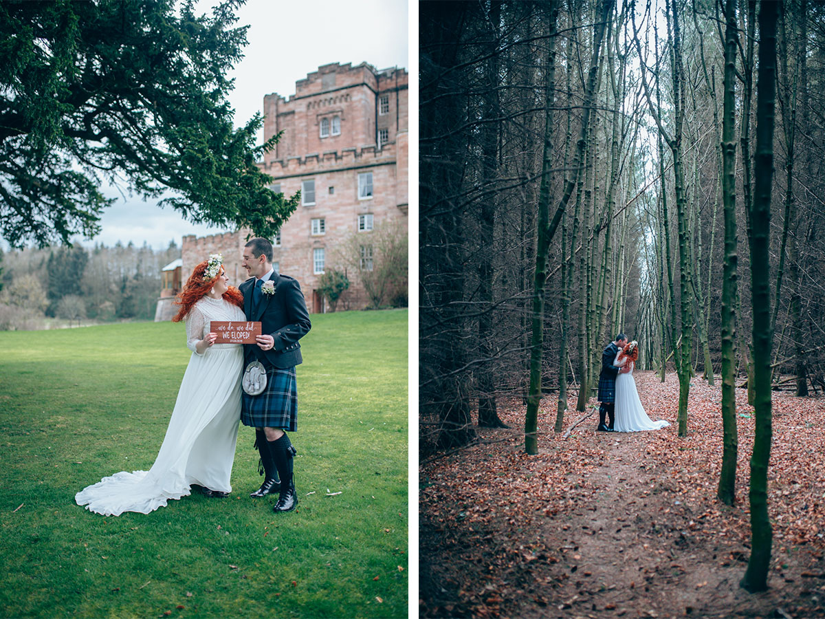 bride-and-groom-with-elopement-sign-in-woods