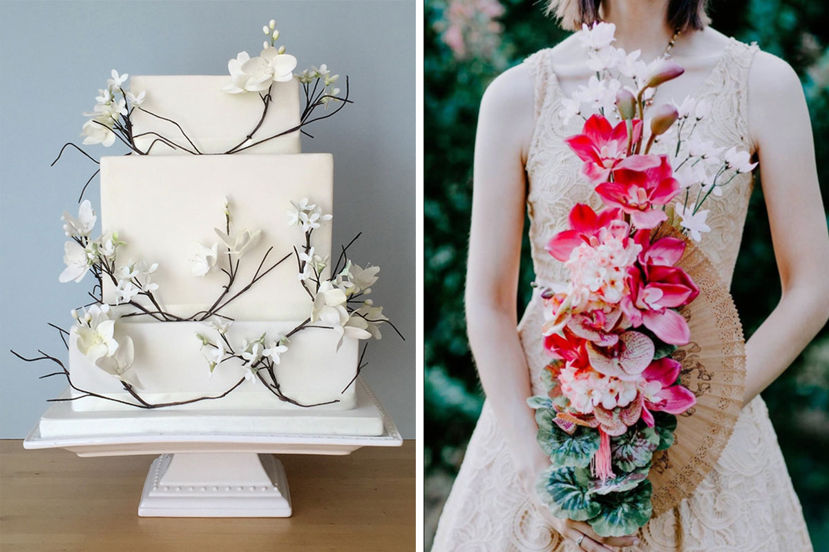 wedding cake; wedding flowers