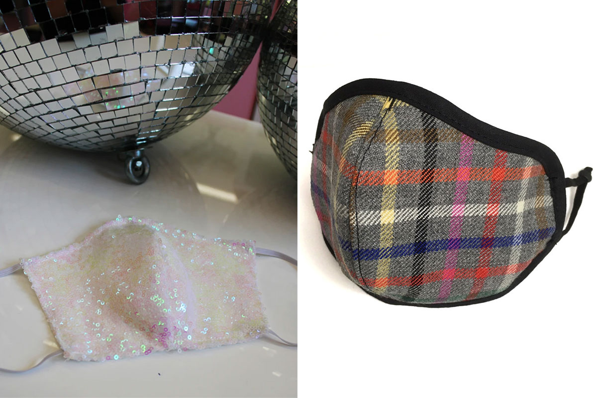 Sequin face mask and tartan face mask