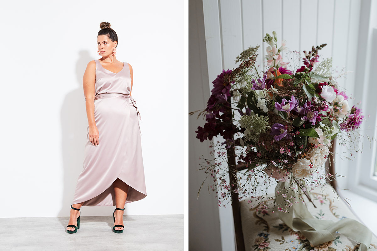 Bridesmaid separates by Halfpenny London and Days of Dahlia bouquet