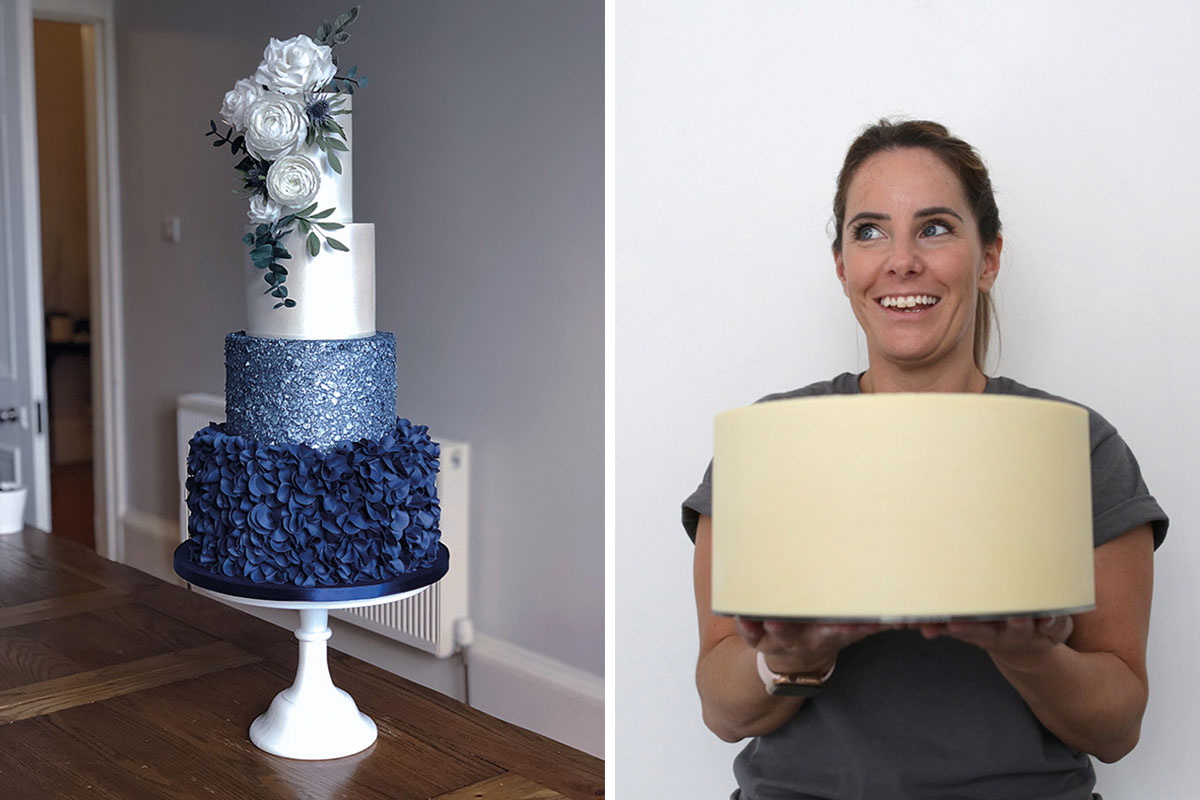 navy blue ruffle wedding cake