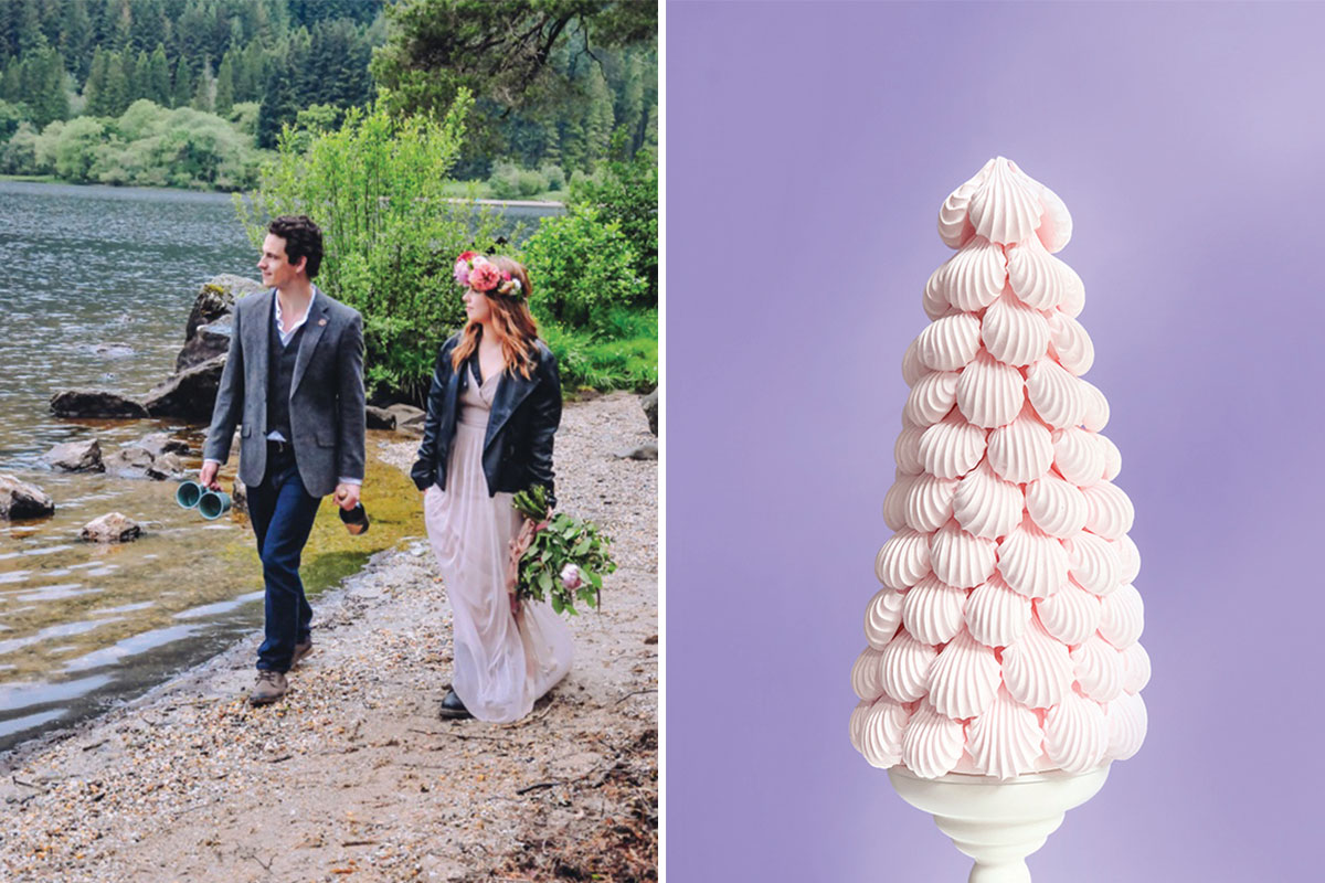 man and woman on beach; pink meringue cake