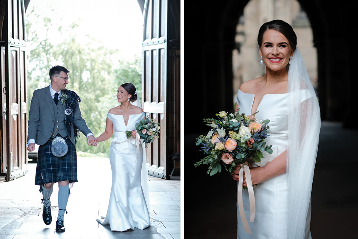 couple-walking-through-cloisters-door-glasgow-university-and-bride-smiling