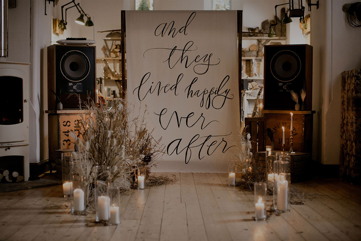 wedding aisle and they lived happily ever after calligraphed sign