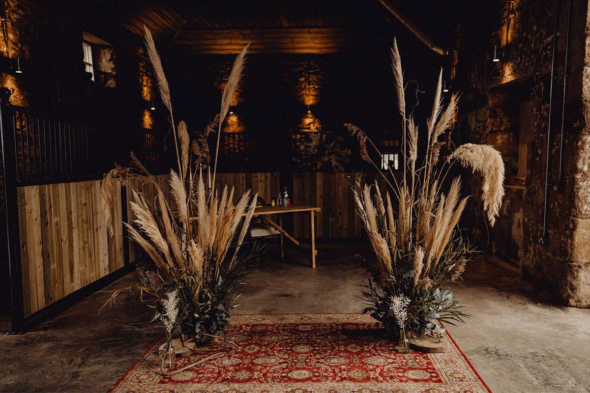 pampas grass ceremony arrangement