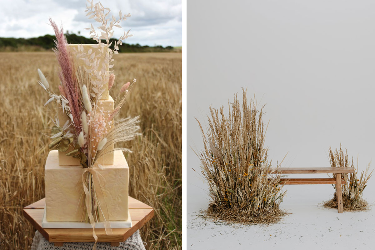wedding cake and wooden bench surrounded with dried grasses