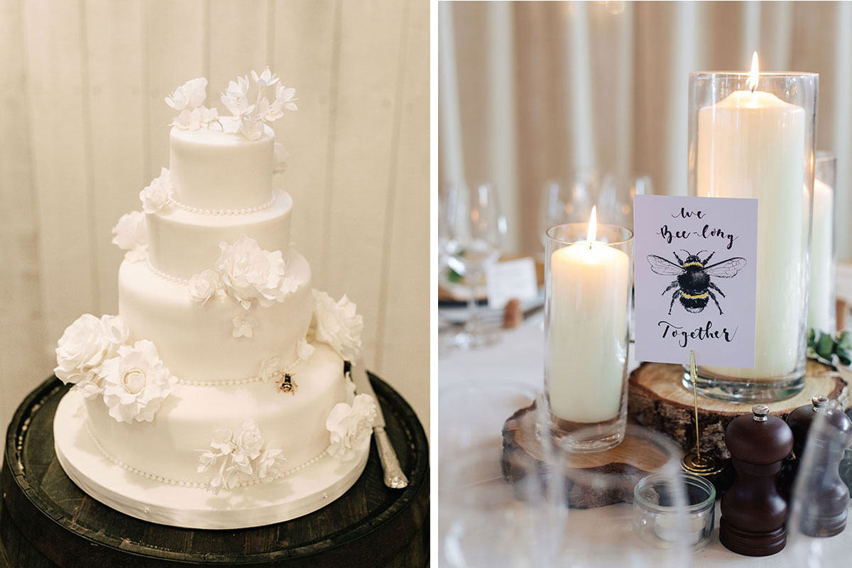 white-bee-wedding-cake-bee-wedding-candle-table-centre