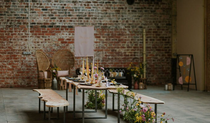 _weaving-shed-dundee-wedding-dinner-set-up-with-flowers-and-candles