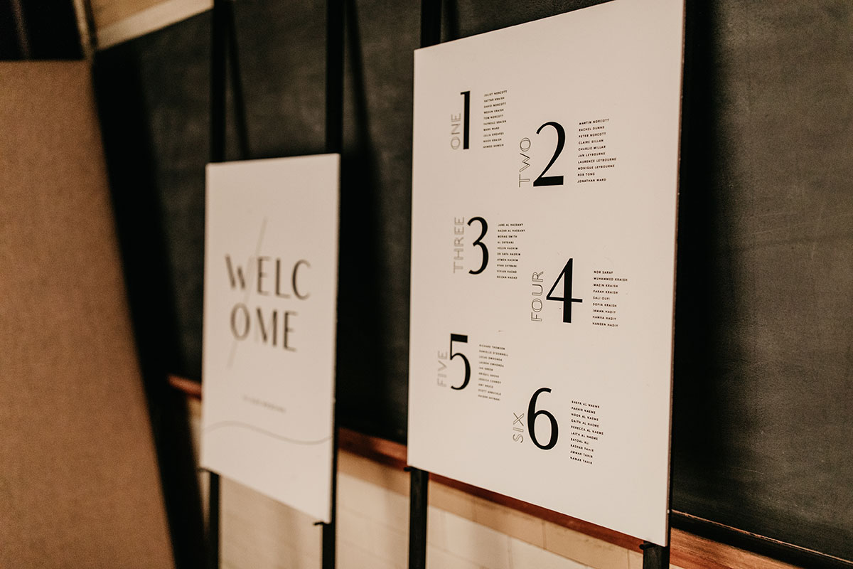 Anatomy Rooms Aberdeen wedding signage by Paper Skeleton