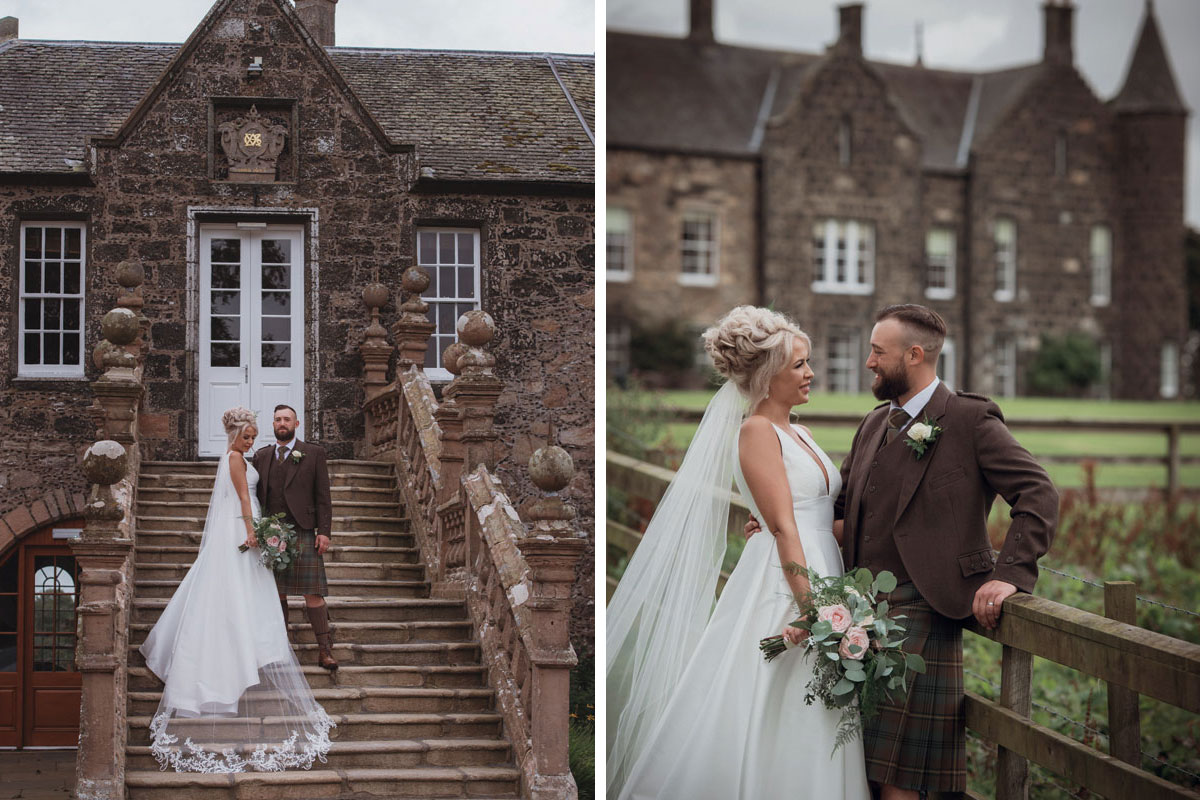 Aboyne Photographics Meldrum House Aberdeen wedding venue bride and groom outside