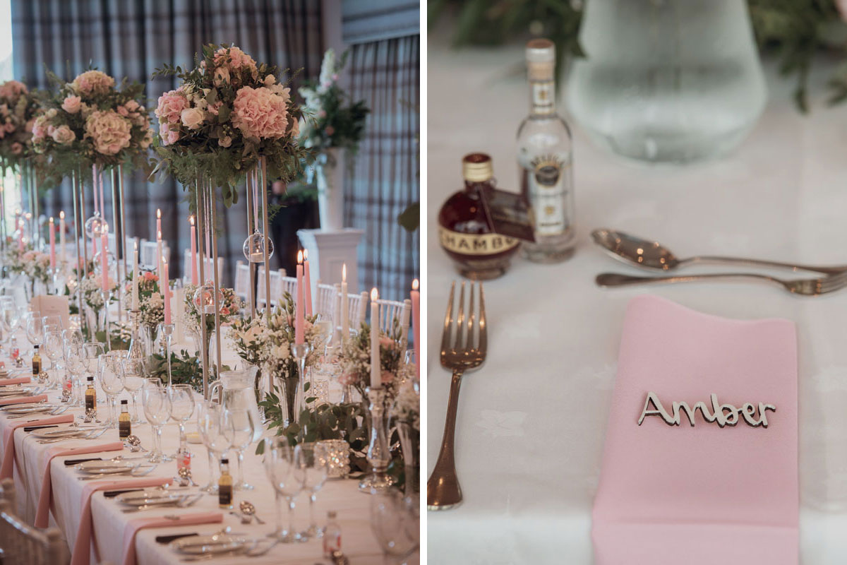 Aboyne Photographics Meldrum House Aberdeen wedding venue table set for meal and pink napkin with wooden place name