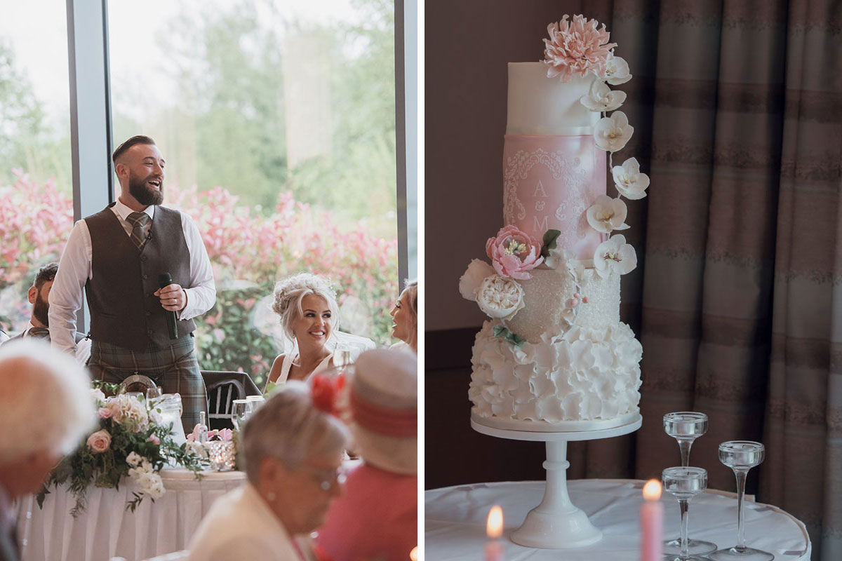 Aboyne Photographics Meldrum House Aberdeen wedding venue groom's speech and pink wedding cake
