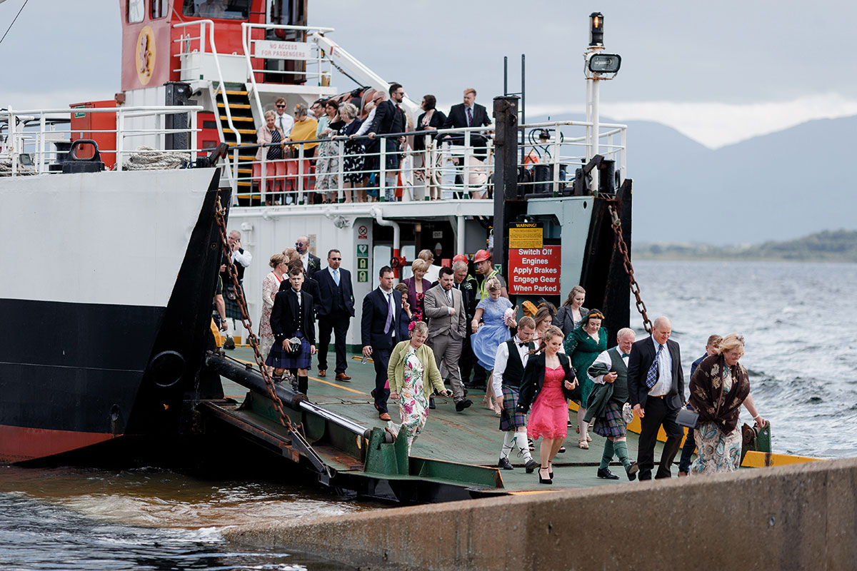 Isle-of-Lismore-Wedding-Photography-Barry-Robb-Cal-Mac-guests-on-ferry