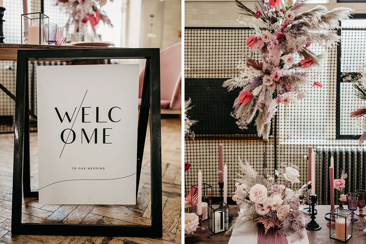 Anatomy Rooms Aberdeen wedding Paper Skeleton wedding welcome sign and flowers and styling by Kim Dalglish