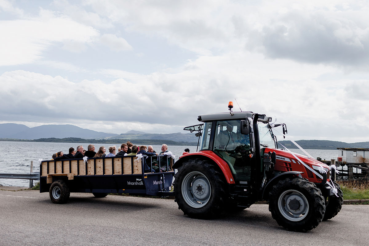 Isle-of-Lismore-Wedding-Photography-Barry-Robb-wedding-guests-transport-tractor-trailer