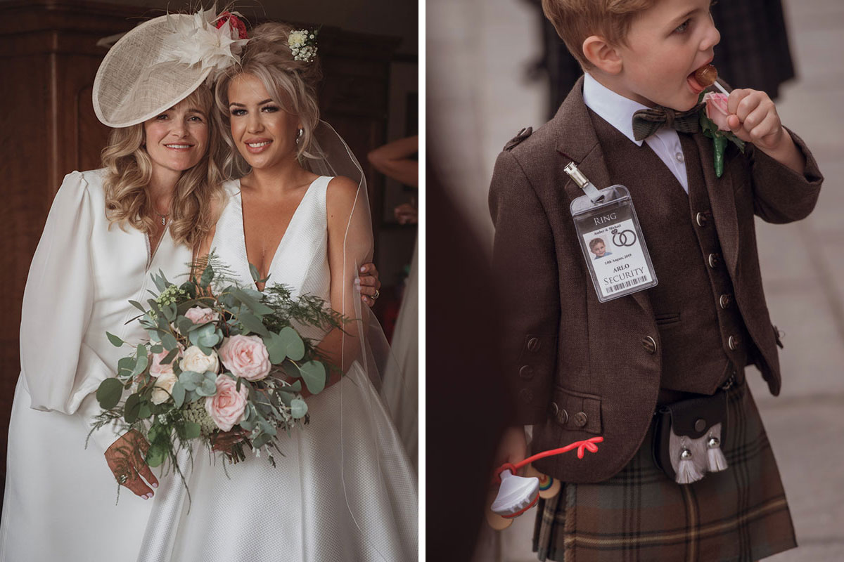 Aboyne Photographics Meldrum House Aberdeen wedding venue bride with mum and boy wearing kilt eating lolly