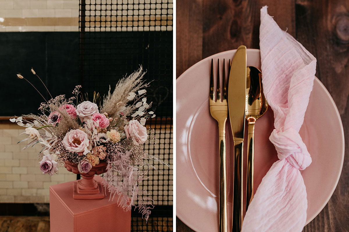 Anatomy Rooms Aberdeen wedding pink plate and gold cutlery flowers by Kim Dalglish