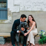 cormiston farm wedding mirrorbox photography bride and groom with dog