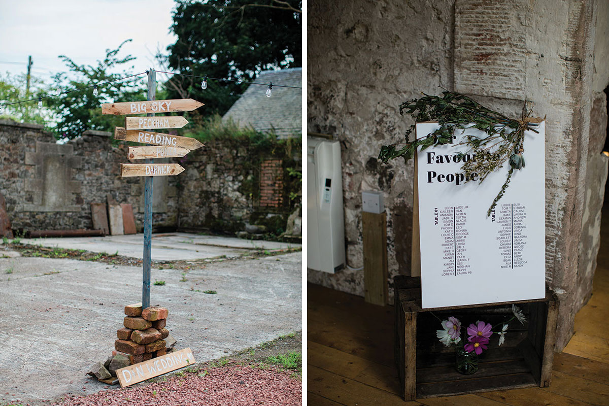 cormiston farm wedding mirrorbox photography wooden wedding direction signs and table plan