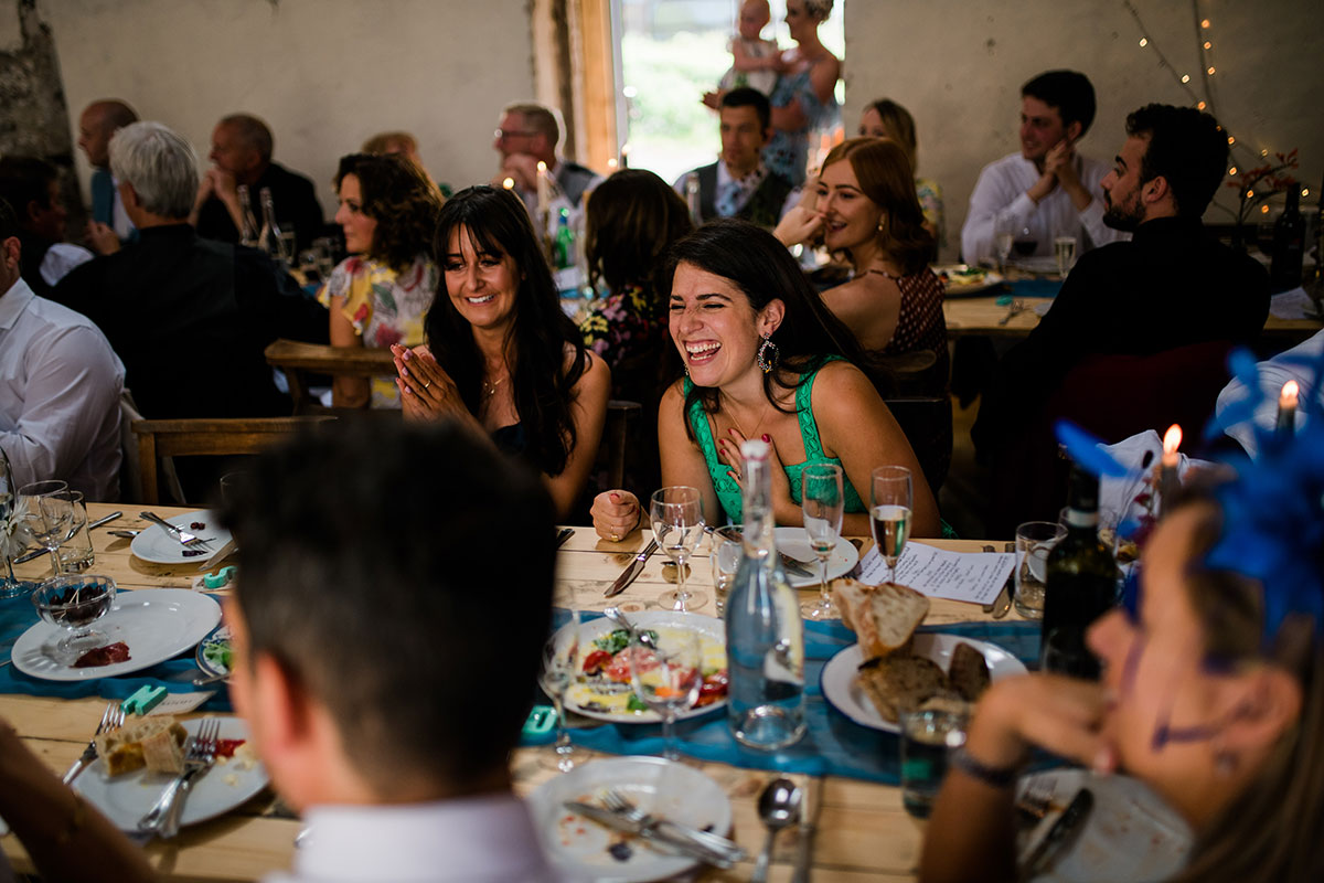 cormiston farm wedding mirrorbox photography guest laughing during speeches