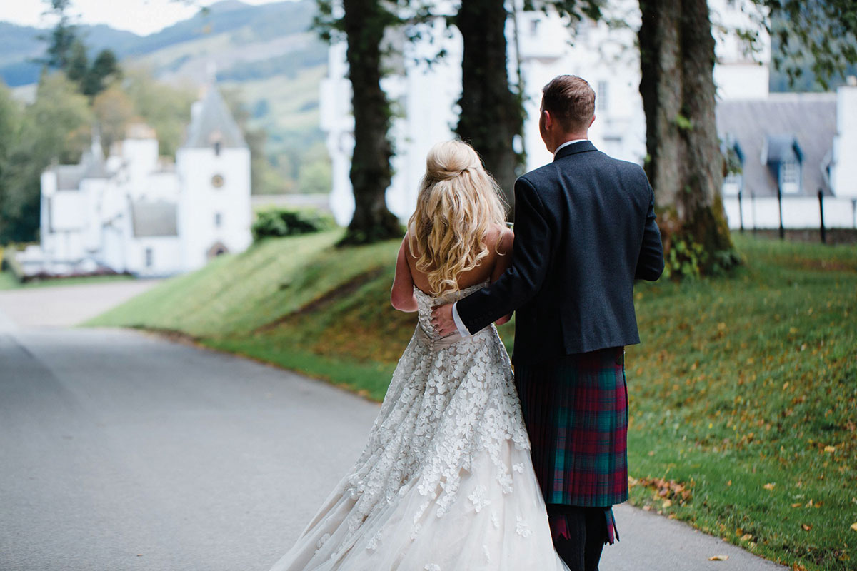 Bride and Groom outside Blair Castle