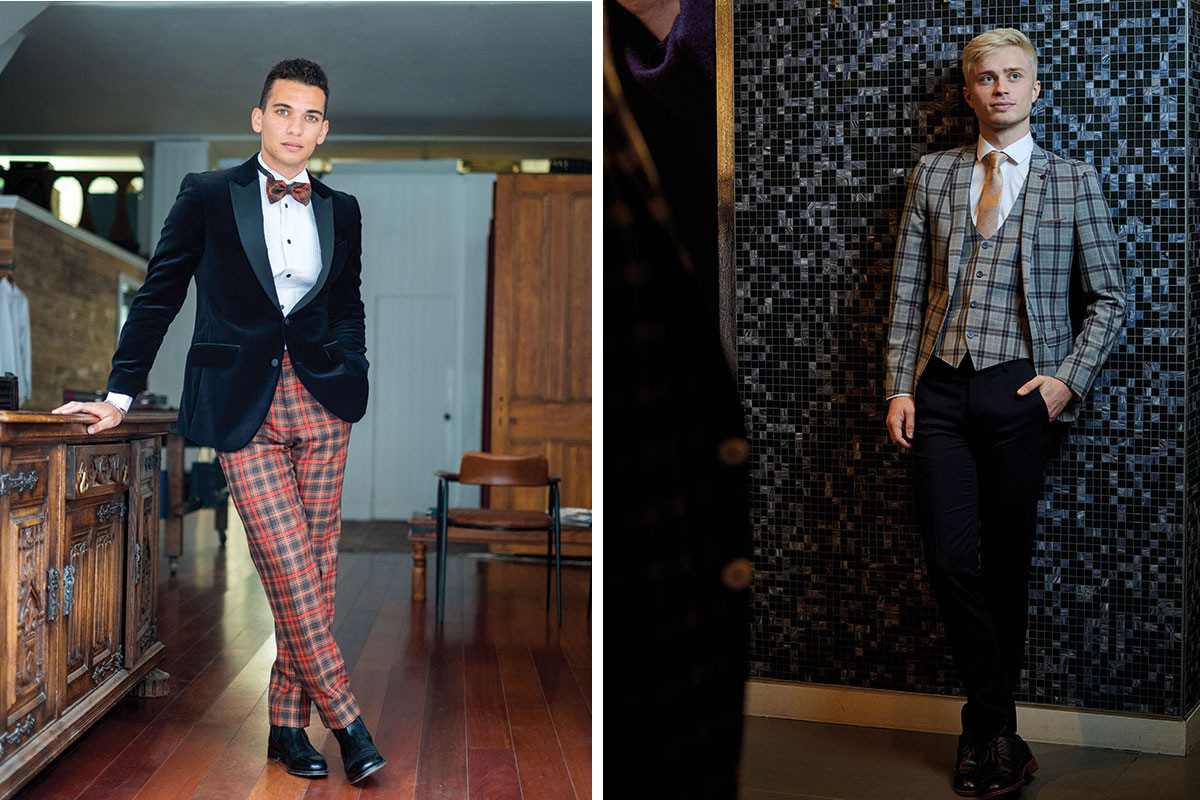 man wearing tartan trousers and velvet jacket by Gordon Nicolson Kiltmakers; man wearing checked suit by Remus Uomo