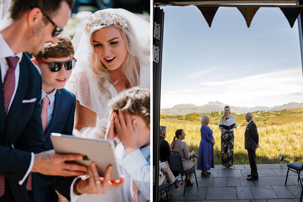 bride showing children iPad during covid lockdown wedding ceremony