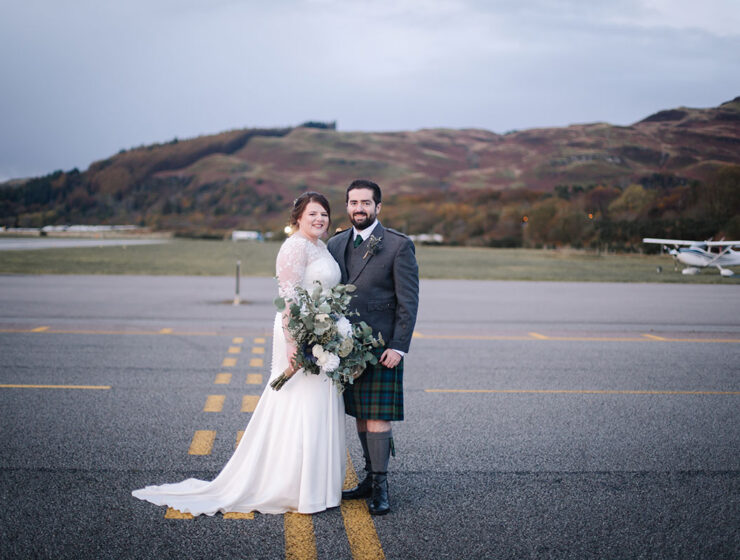 bride-groom-on-runway-oban-airport-wedding