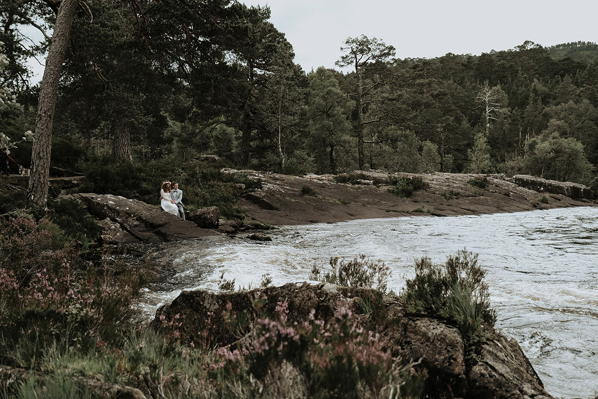 elopement bride and groom by River Affric