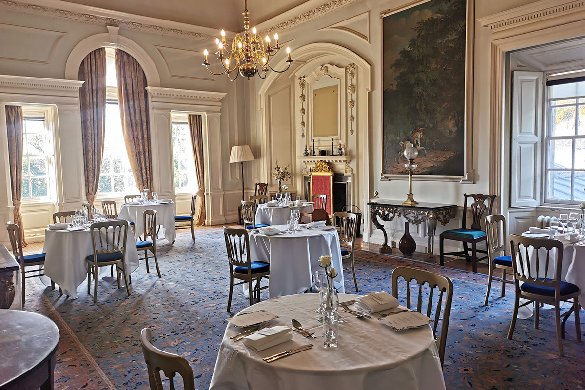 National Trust for Scotland Pollok House dining room wedding set up in family groups
