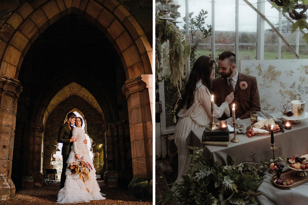 Bride and groom in a church, bride and groom in a conservatory