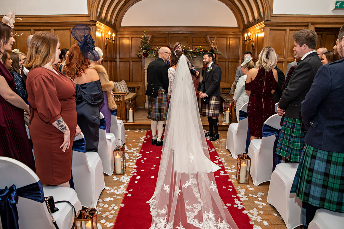 Inglewood House bride given away by dad festive wedding