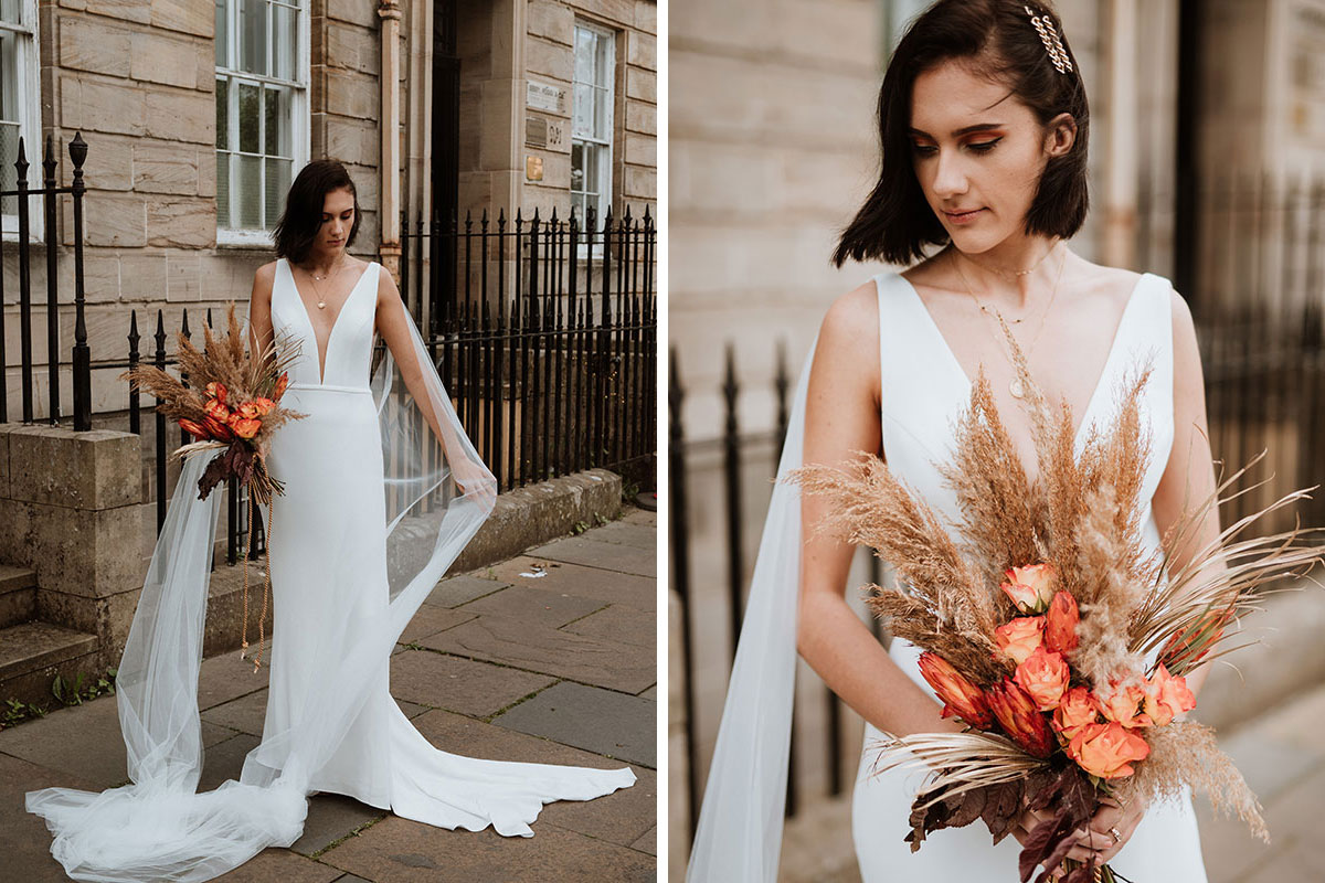 bride wearing unbridaled wedding dress with dried bouquet