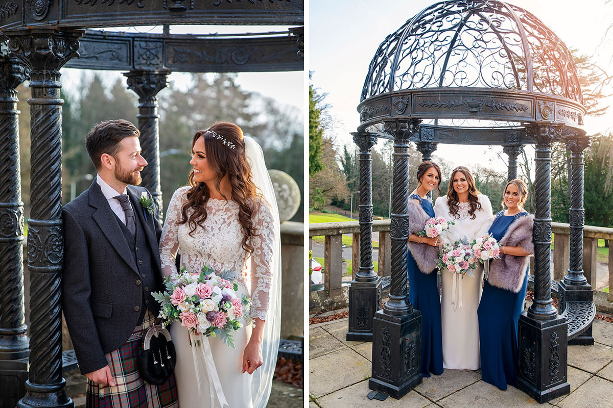 Bride and groom and bridesmaids in the gardens at Inglewood House