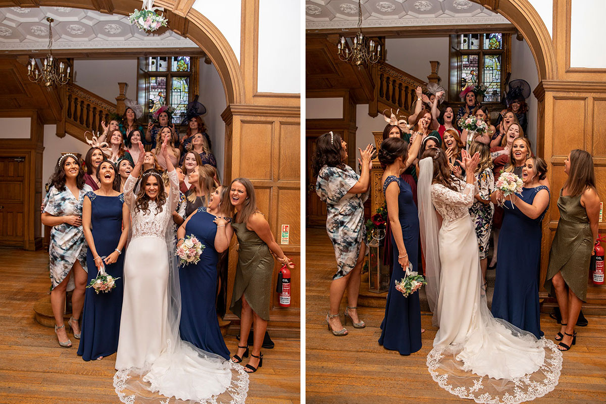 Bride throwing bouquet at Inglewood-House