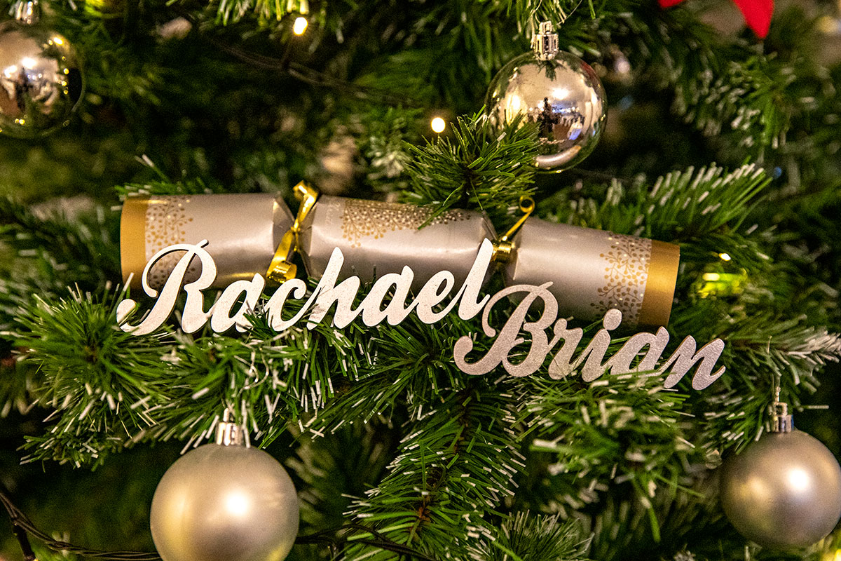 gold bride and groom personalised christmas decorations on tree