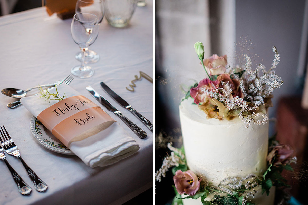 place setting and wedding cake