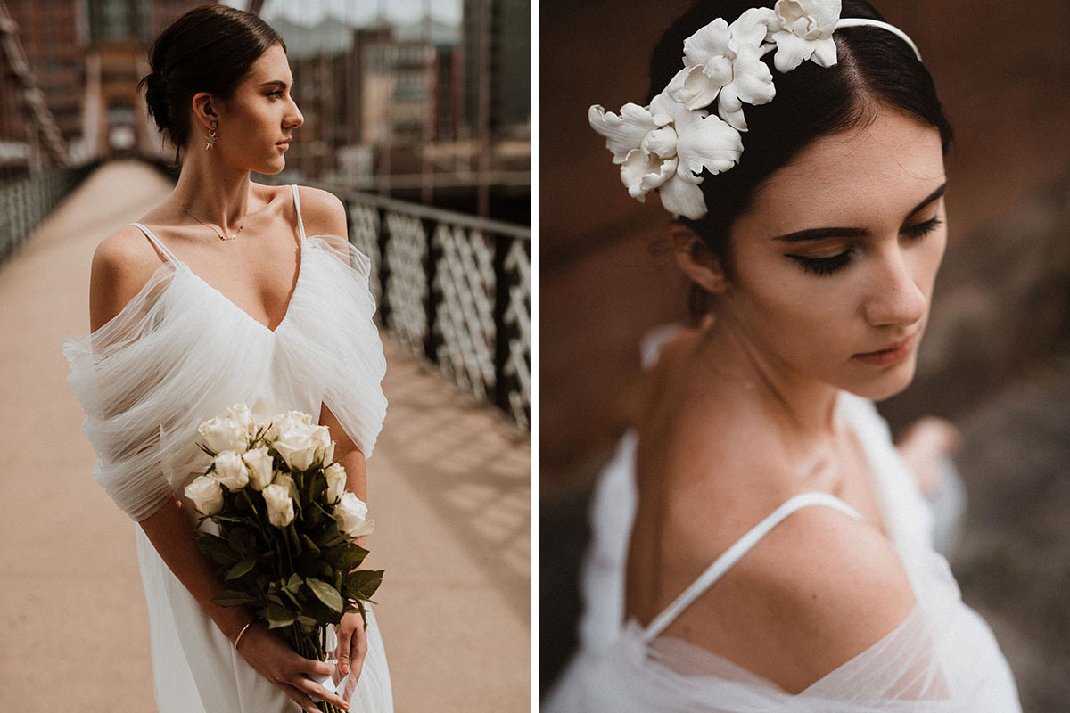 bride wearing Unbridaled wedding dress and flower hair band