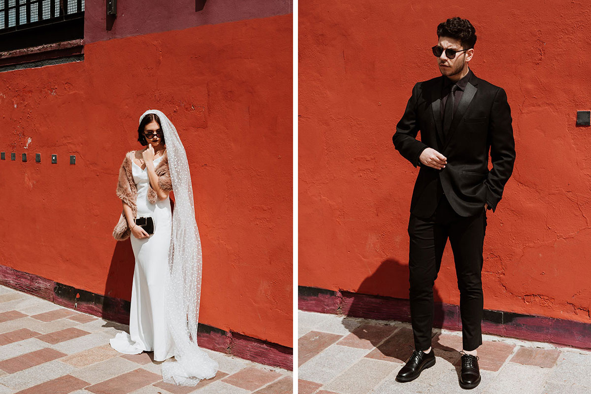 bride wearing black sunglasses and groom wearing black suit and sunglasses