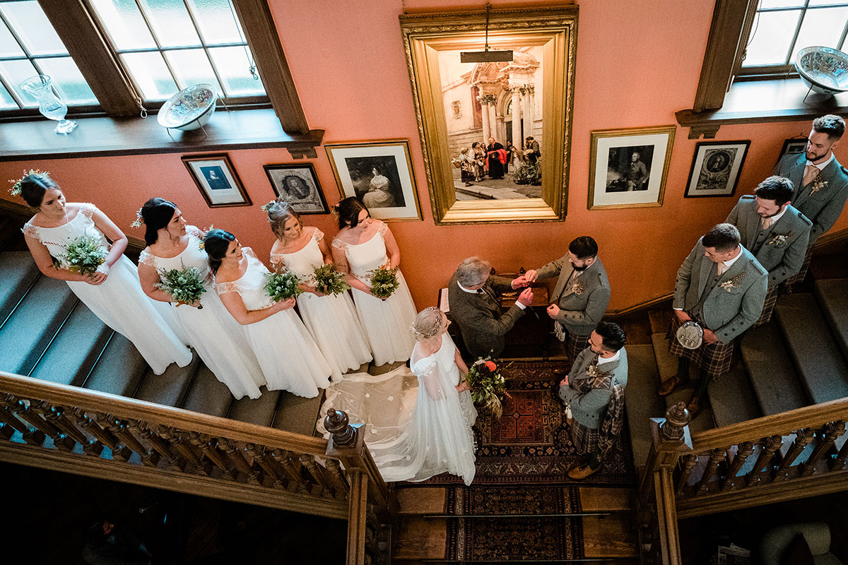Wedding ceremony on staircase at Errol Park